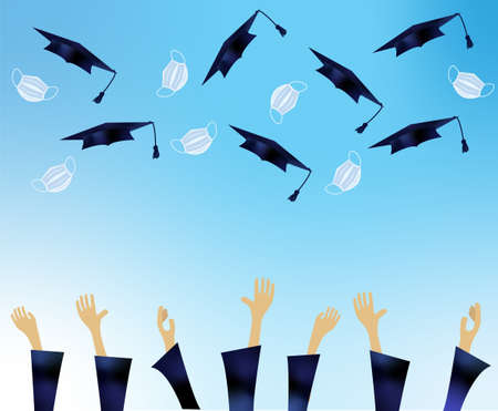 Illustration of hands of a group of students throwing their caps and masks into the air over a celestial sky. Graduation concept with social distancing in pandemic.