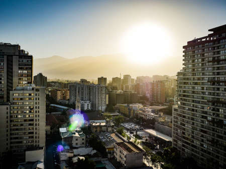 Santiago City View Chile with skyscrapers 스톡 콘텐츠