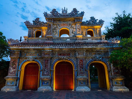 Vietnam Unseco old imperial city hue archway 스톡 콘텐츠