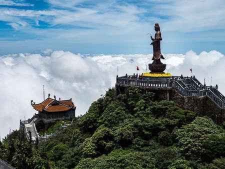 Vietnam Sapa Fansipan mountain view with statue