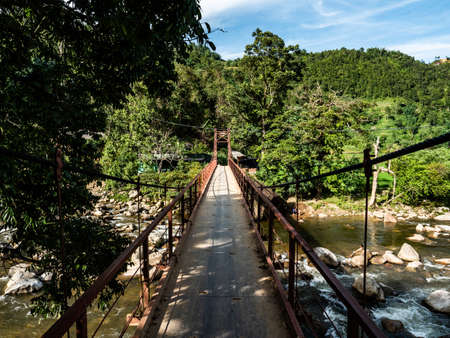 Vietnam Sapa old Brigde in the Jungle view 스톡 콘텐츠