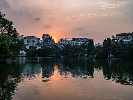 Vietnam Hanoi Hoan Kiem sea skyline view 스톡 콘텐츠