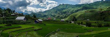 Vietnam Sapa Rice fields view panorama 스톡 콘텐츠