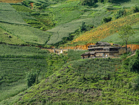 Vietnam Sapa Rice fields view with a Homestay