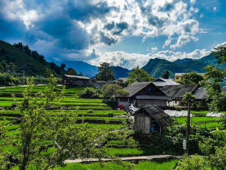 Vietnam Sapa Rice fields view little village
