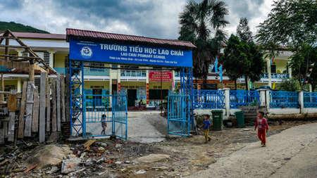 Vietnam Sapa little old school in a village
