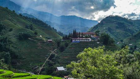 Vietnam Sapa Rice fields and mountain view