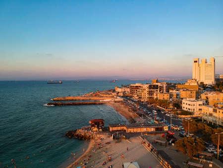 Israle Haifa beautiful city view on sunset