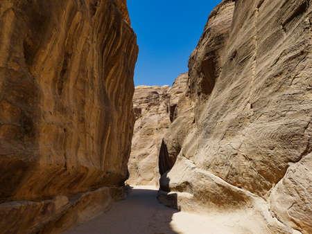 Jordan petra beautiful way to the ruins between the rocks