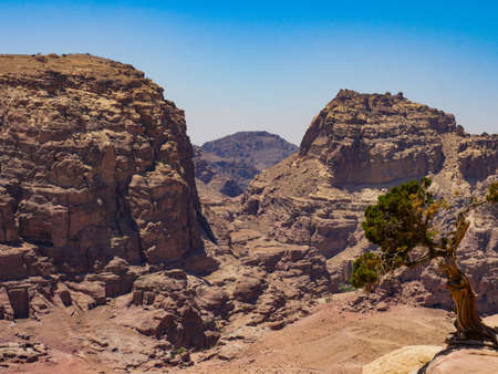 Jordan View over petra from top of the mountain in summer 스톡 콘텐츠