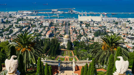 Israel Haifa City park view from top of the mountain