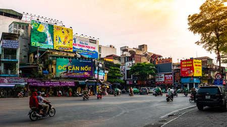 Vietnam Hanoi street view beautiful sunset