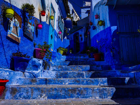 Morocco blue city chefchaouen street view