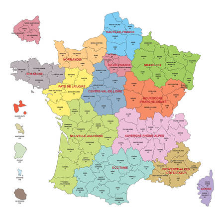 Map of France with regions and departments including the detail of the departments around Paris and the French Overseas Regions Ilustração