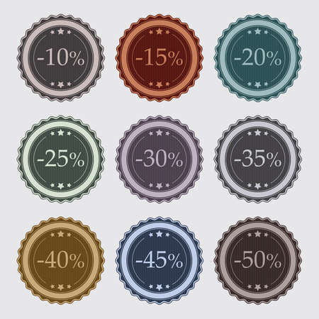 Set of 9 vintage badges for promotions and sales Stockfoto - 133372304