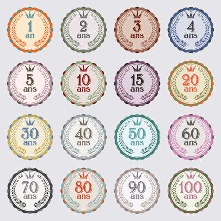 Set of 16 vintage badges for guarantee or birthday Stockfoto - 133372305