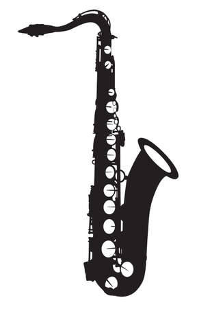 Music: black pattern of a saxophone on a white background