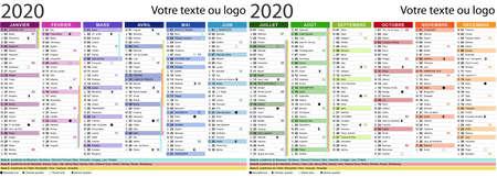 2020 calendar with ephemeris and school holidays