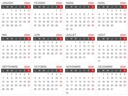 Calendar template for the year 2020