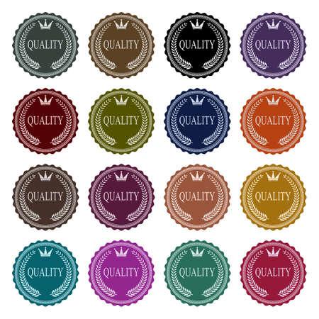 Lot of 16 vintage badges with title quality Vektoros illusztráció