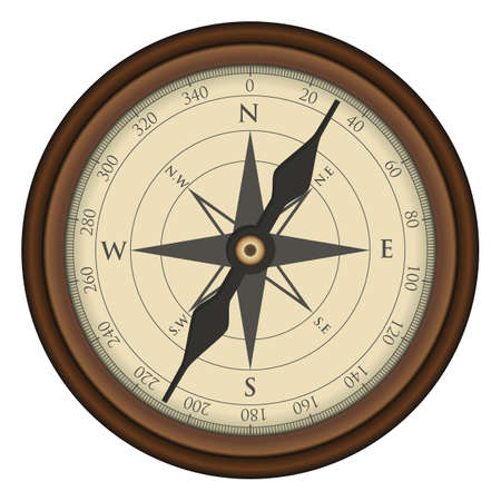 Realistic compass icon for vintage design