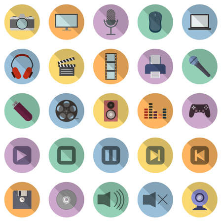 Set of 25 icons on the theme of multimedia