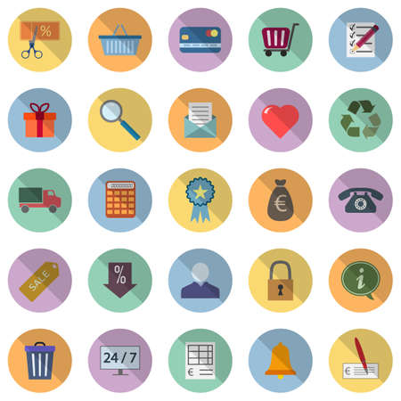 Set of 25 icons on the theme of shop and sale Ilustração