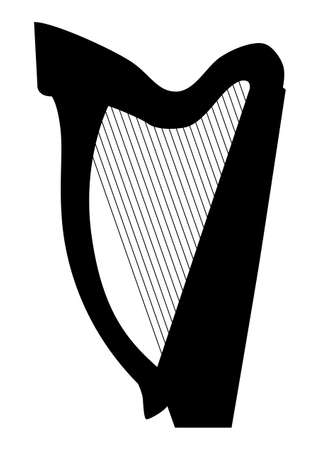 Music - black pattern of harp on a white background