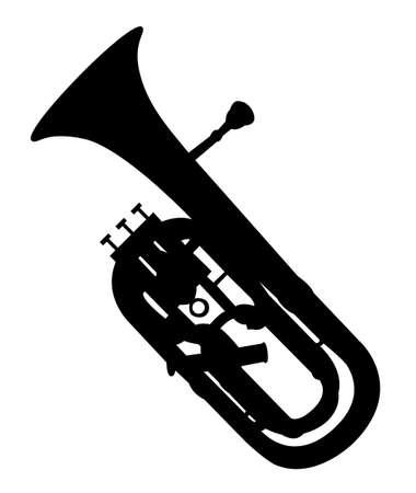 Music - black pattern of snorkel on a white background Ilustrace