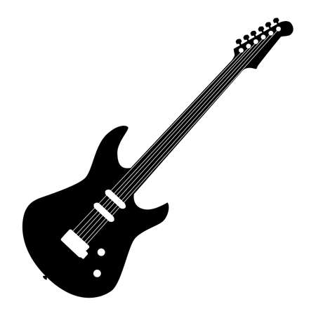 Music - black pattern of electric guitar on a white background