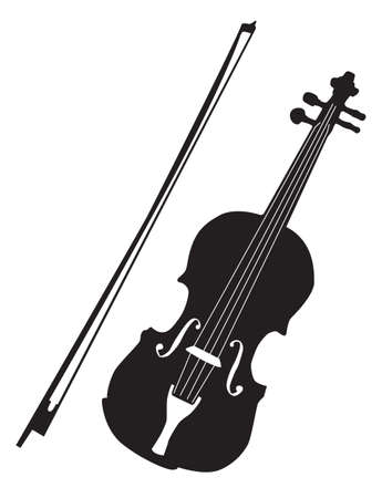 Music - black pattern of violin on a white background