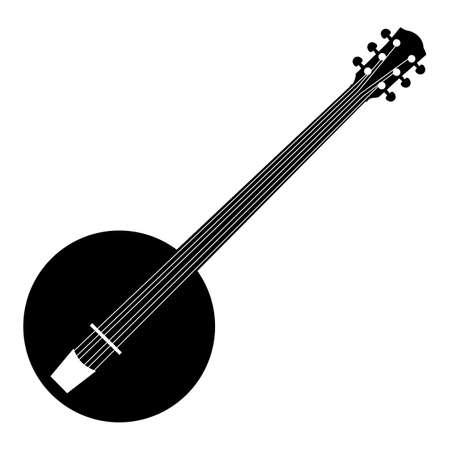 Music - black pattern of banjo on a white background Ilustração