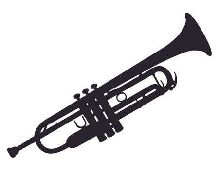 Music - black pattern of trumpet on a white background