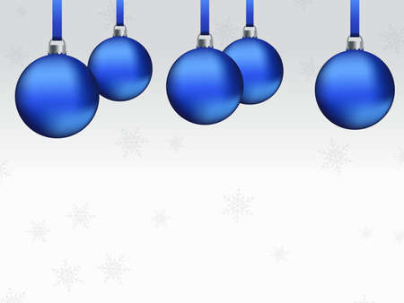 Christmas themed card background with balls and snowflakes
