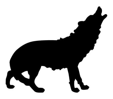 Black pattern of a wolf on a white background Ilustração