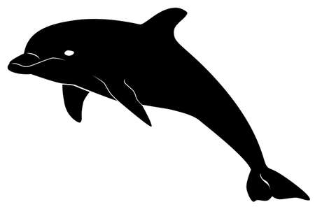 Black pattern of a dolphin on a white background