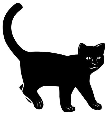 Black pattern of a cat on a white background