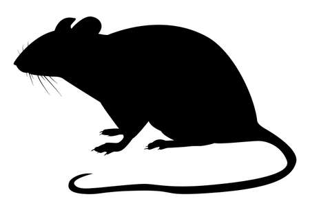 Black pattern of a rat on a white background