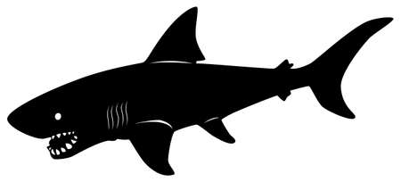 Black pattern of a shark on a white background