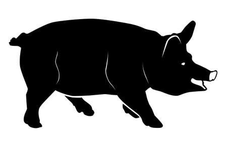 Black pattern of a pig on a white background Ilustração