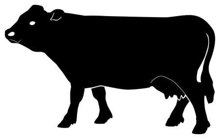 Black pattern of a cow on a white background Ilustração