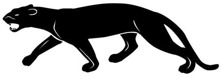 Black pattern of a panther on a white background