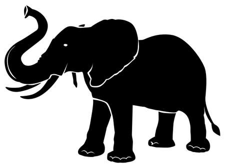 Black pattern of an elephant on a white background Иллюстрация