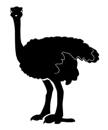Black pattern of an ostrich on a white background