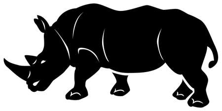 Black pattern of a rhinoceros on a white background