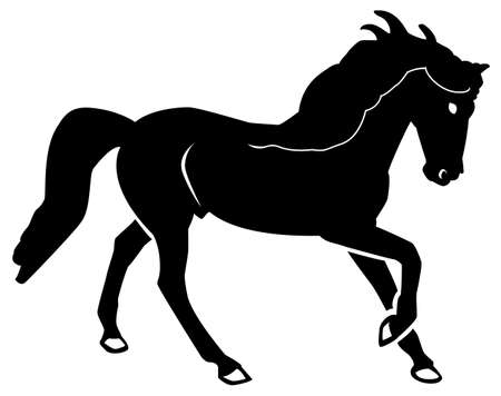 Black pattern of a horse on a white background Stock Illustratie