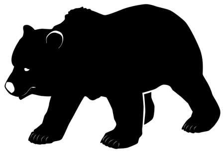 Black pattern of a grizzly bear on a white background Ilustração