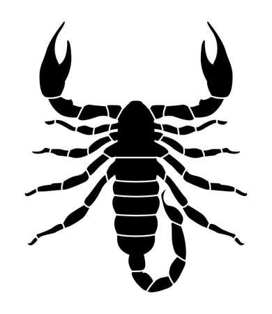Black pattern of a scorpion on a white background Ilustração