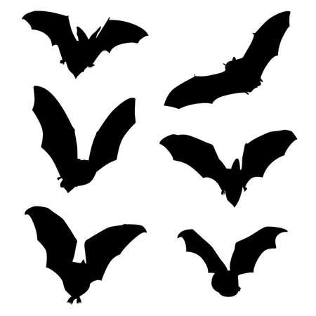 Set of 6 black bat patterns for Halloween