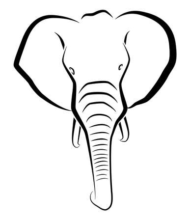 Black drawing of an elephant head